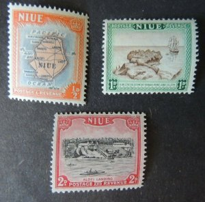 Niue 1950 maps ships resolutionalofi landing 3v MNH