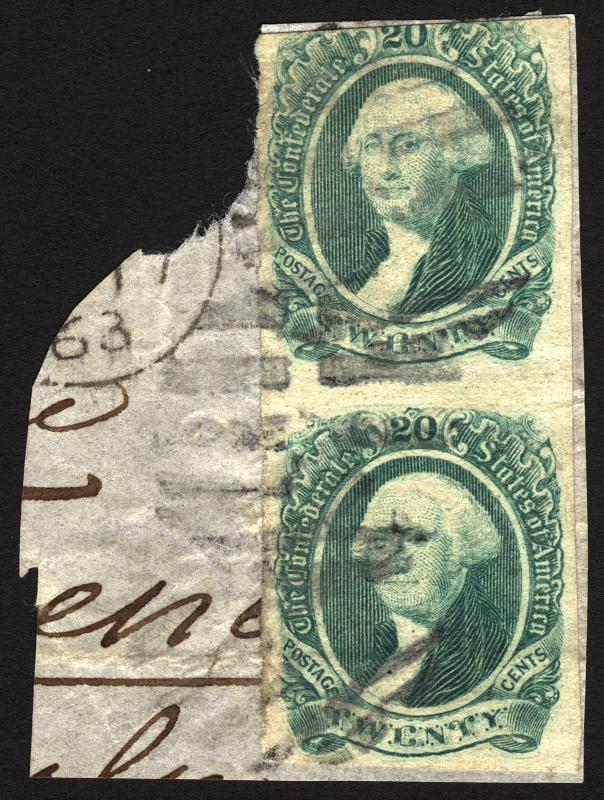Rare Confederate Stamps Scott #13 20c Green 1863 Used Vertical PAIR on Piece