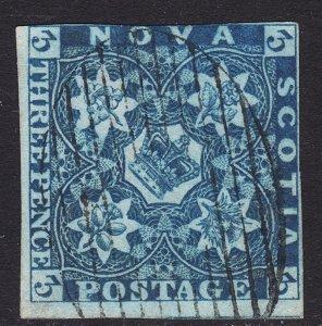 1851-7 Canada Nova Scotia Queen Victoria QV 3p Used dark blue Sc# 3 CV $300.00