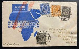 1931 Kisumu Kenya British KUT Airmail First Flight Cover FFC To London England
