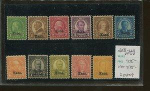 United States Postage Stamps #658-668 MNH VF Kansas Overprint Set