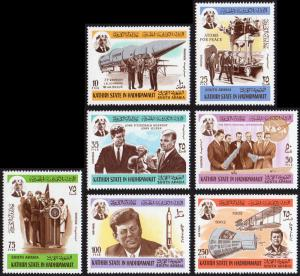 Aden Kathiri State Mi #166-172 set/7 mnh - 1967 US space program - Braun, Glenn