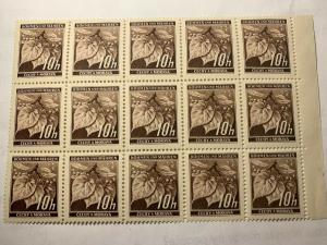 German 3rd Reich Nazi Occupation Bohemian 10 Heller MNHOG Stamp Sheer Block 15Ct