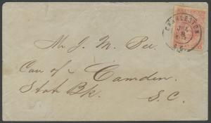 CSA #5 5¢ ROSE ON COVER CHARLESTON, SC TO CAMDEN, SC 7/8/1862 VF+; PFC HV9942