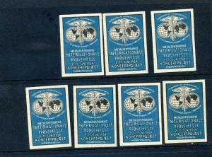 7 VINTAGE 1934 METAL SEKTIONENS KONCERT PALAET POSTER STAMPS  (L864)  DENMARK