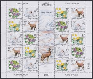 Serbia and Montenegro Flora and Fauna 05 Sheetlet SG#112-115