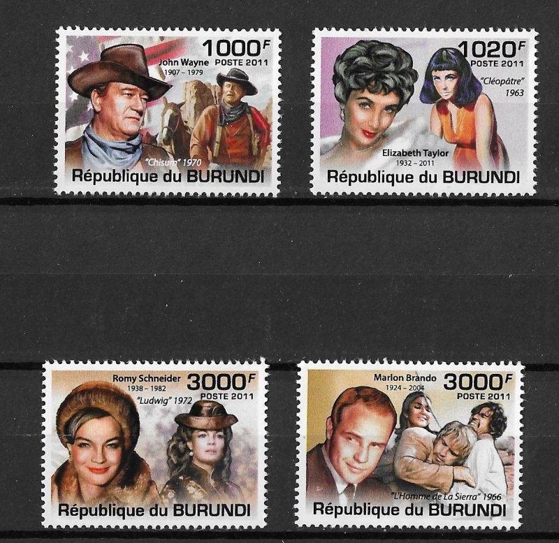 Burundi MNH Set Of Cinema Actors/Actresses 2011