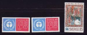 Sweden Sc 933-35 1972 UN Environment Conference stamp set mint NH
