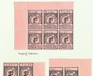 GB WALES Corris Railway Co Stamps ERROR IMPERF BETWEEN Block{6} RARE 1895 Ap185