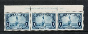 Canada #227 Extra Fine Never Hinged Plate Strip Of Three