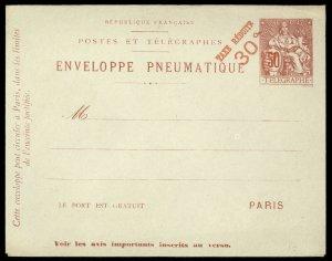 fr029 France Tubes Pneumatiques envelope 50c red, 30c red overprint, unused