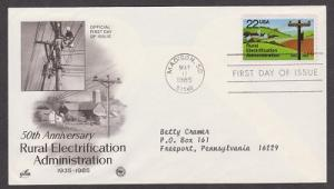 2144 Rural Electrification ArtCraft FDC with neatly typewritten address