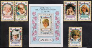 Anguilla Princess Diana Complete Set  SS MNH