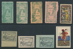Lot Stamp Label France Spain Exposition Cinderella Paris Costume Barcelona MNH