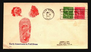 US 1947 Early Americans Full Dress Cacheted Cover - Z18640