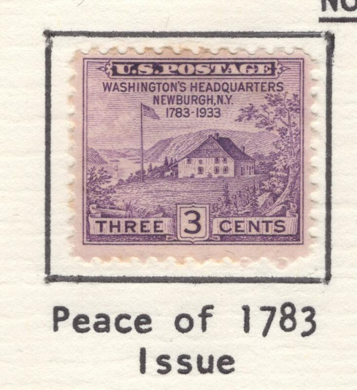 US 1933 Washington's Headquarters 3c Stamp Scott 727 NG MH