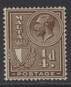 MALTA SG157 1926 ¼d BROWN MTD MINT