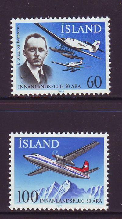 Iceland Sc 508-9 1978 Airplanes  stamps mint NH