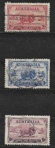 COLLECTION LOT OF # 147-9 AUSTRALIA 1934 COMPLETE SET CV = $71