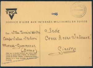 Switzerland WWII Internee Camp Guemmenen YMCA Prisoner Cover 53906