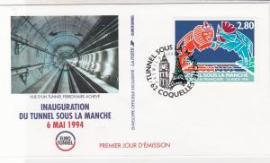 France 1994 Channel Tunnel InAug Pic Slogan Cancel + Stamp FDC Cover Ref 31721