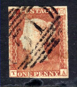 GB 1840 – 41 QV 1d Red Small Crown Imperf ( T & A )  ( E489 )