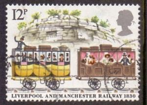 Great Britain 1980 used railway  12p  first and second class carriages   #