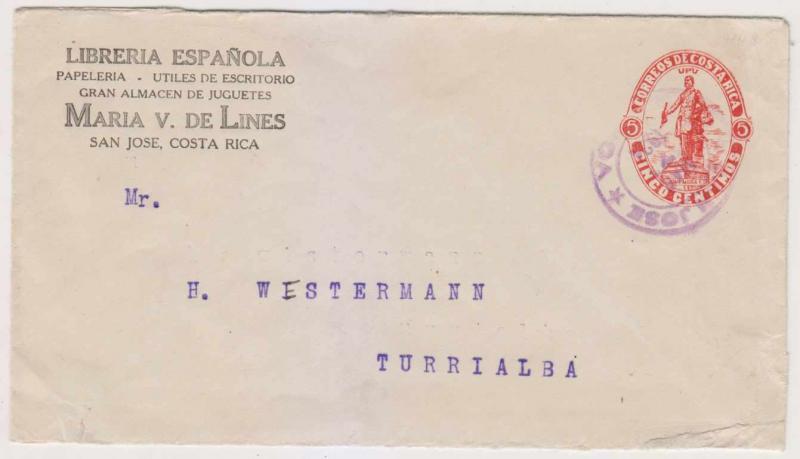 COSTA RICA 1923-24 PS H&G B13 CORNER CARD ENVELOPE SAN JOSE TO TURRIALBA F,VF
