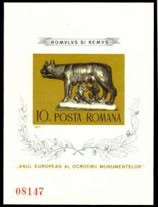 Romania 1975 10L ROMAN MONUMENT SPECIAL ISSUE S/S MNH #2569 var. C... [164031]