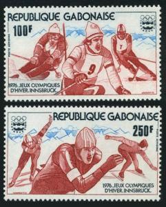 Gabon C174-C175,C175a,MNH. Olympics Innsbruck-1976:Slalom,Speed skating.