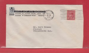Flower Dealer silver and black advertising 1943 War Issue cover Canada