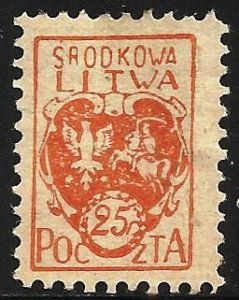 Central Lithuania 1920 Scott# 1 MH