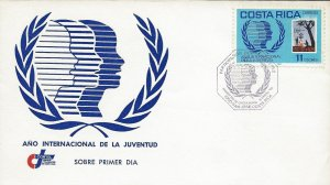 COSTA RICA INTL YOUTH YEAR, SCOUTING MOVEMENT,STAMP on STAMP, Sc 322 FDC 1985