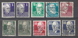 COLLECTION LOT # 3693 GERMANY DDR   1953 10 STAMPS CV+$38