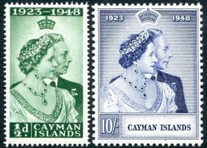 CAYMAN ISLANDS-1948 Royal Silver Wedding Set Sg 129-130 MOUNTED MINT V26183