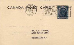 Canada, Canada British Columbia, Government Postal Card, Christmas