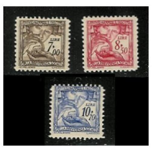 Italy 1941 Fascist Social Security Stamps (#140, 141, 142)