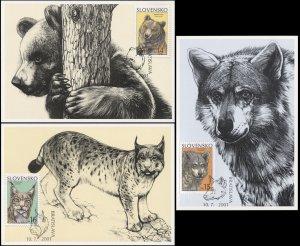Slovakia. 2001. Animals (Mint) Set of 3 Maxi Cards