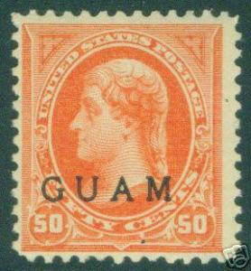 GUAM Scott 11 mint 19th century OPT 50c Jefferson