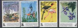 Singapore 112-5 MNH EXPO 70, Birds, Flowers, Fish, Shells