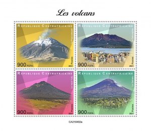 C A R - 2021 - Volcanoes - Perf 4v Sheet - Mint Never Hinged