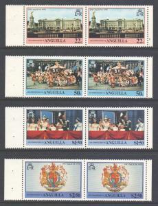 Anguilla Scott 315/318 - SG320/323, 1978 Coronation Anniversary Set Pairs MNH**