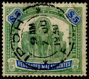 MALAYSIA - Federated Malay SG80, $5 Green & Blue, USED CDS. Cat £275.