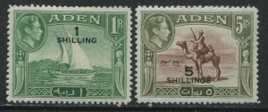 Aden 1951 KGVI overprinted 1 and 5 shillings mint o.g. hinged