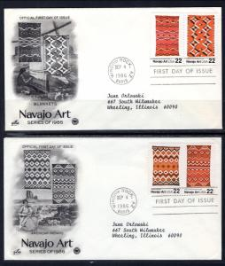 US 2235-2238 Navajo Art PCS Artcraft Variety Set of Two Typed FDC