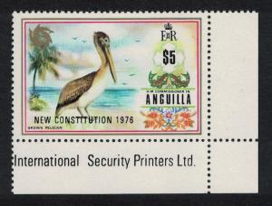 Anguilla Brown Pelican Bird 1v $5 Overprint 'Constitution' KEY VALUE Corner
