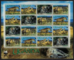 Uganda WWF Spotted Hyaena Sheetlet of 4 sets SG#2551-2554 MI#2663-2666