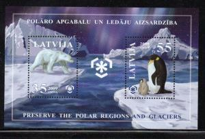 Latvia Sc 731 2009 Polar Bear Penquin stamp sheet mint NH