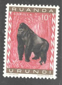 Ruanda-Urundi Scott 137 MNH**  Gorilla wildlife stamp