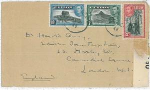 22510  - CEYLON  - POSTAL HISTORY - CENSORED  COVER to LONDON 1944